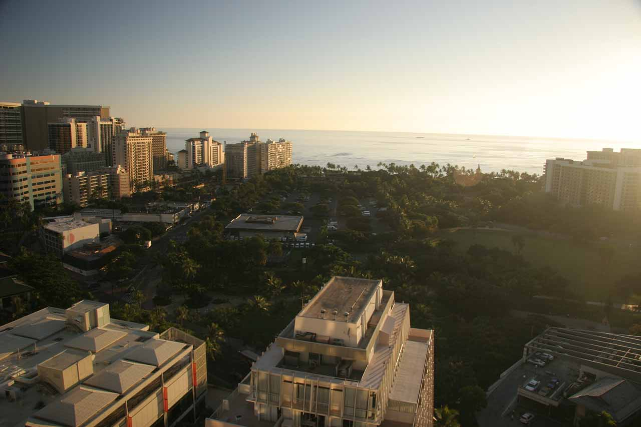 Looking towards the Pacific Ocean amongst the high rises next to Waikiki Beach in Honolulu