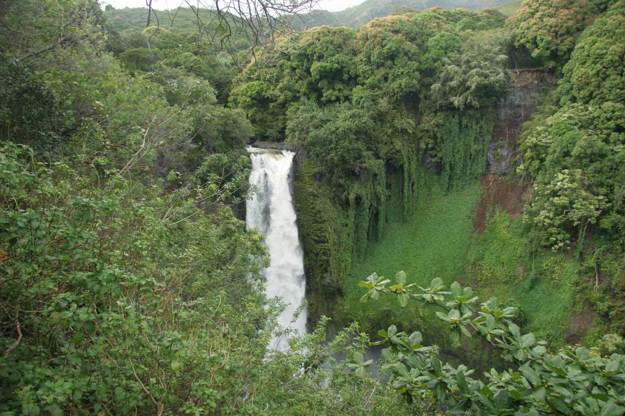 The gushing Makahiku Falls