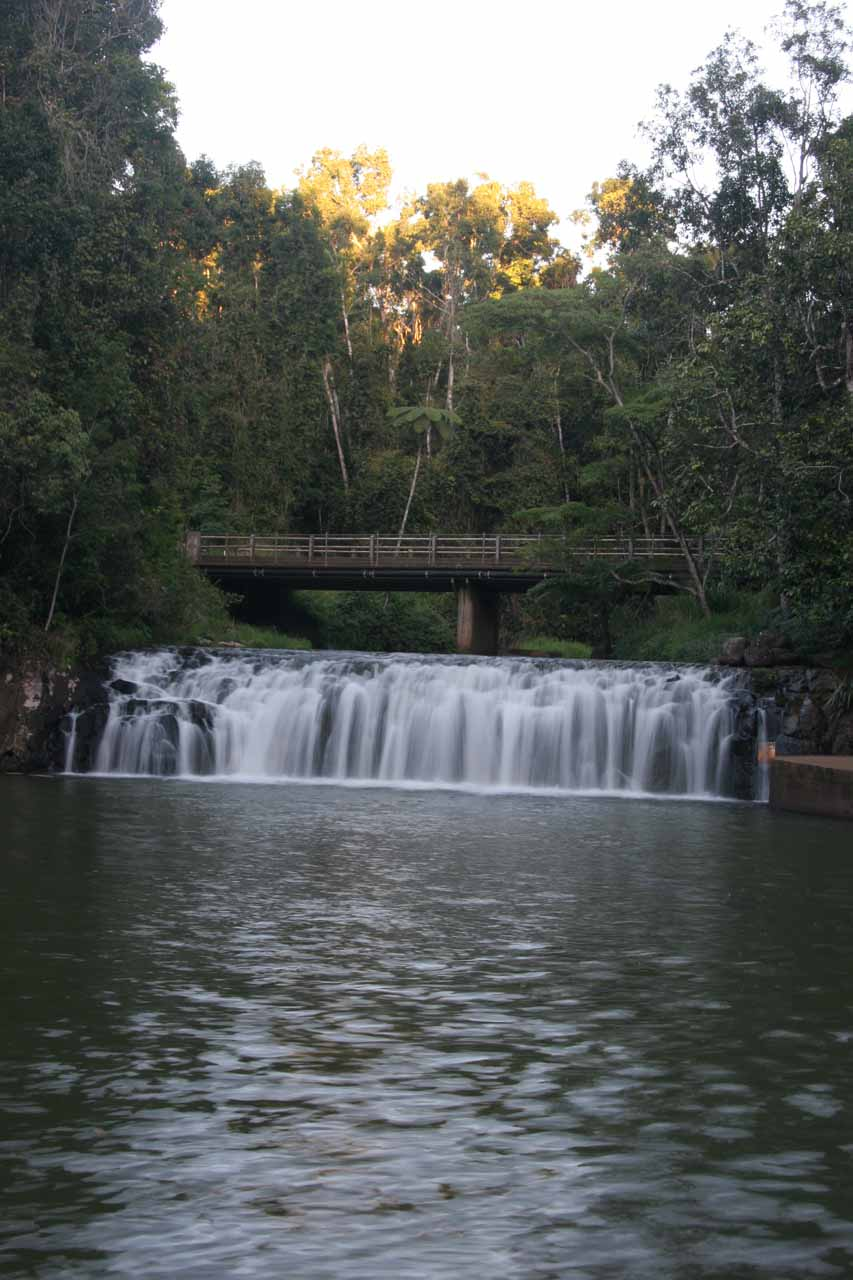Portrait view of Malanda Falls with the fading light of the day