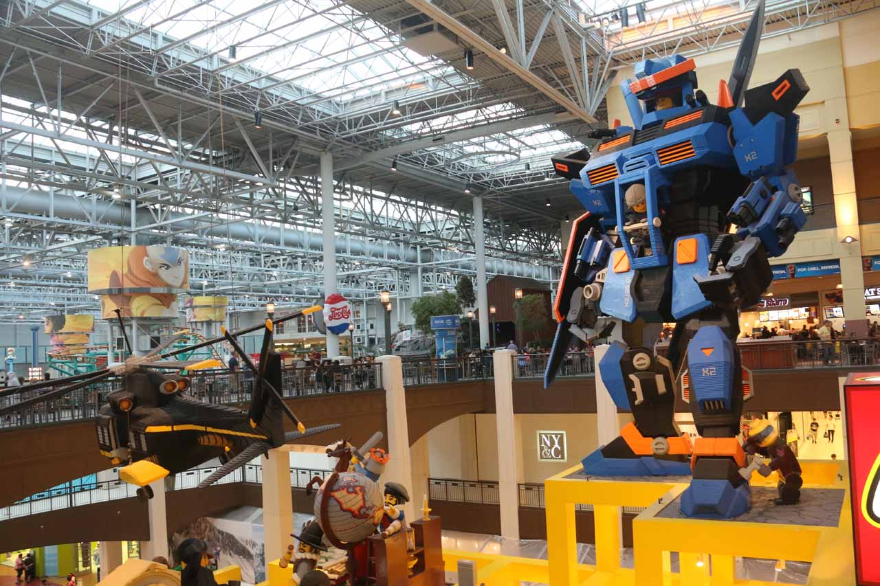 A couple of giant Lego statues by the Lego store in Mall of America