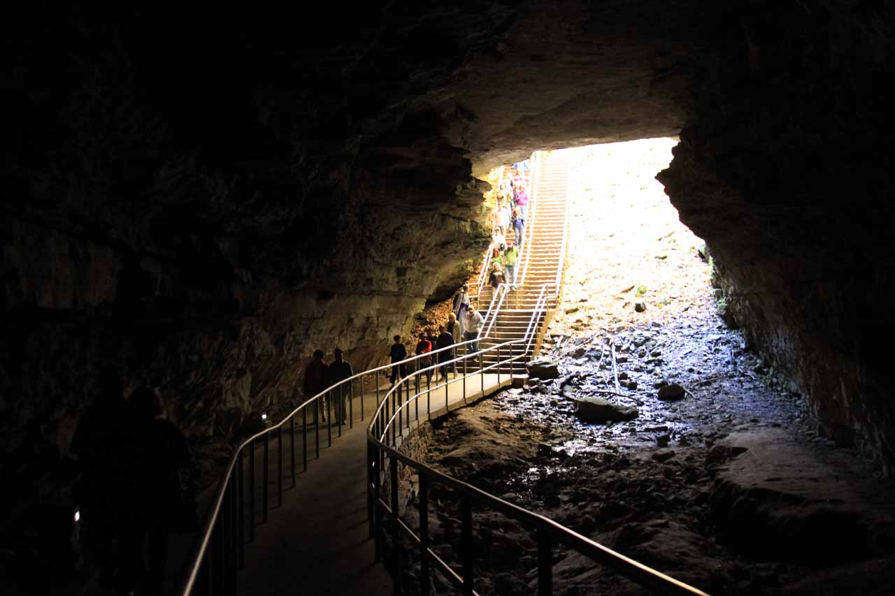 Looking back out towards the brightness of the cave entrance