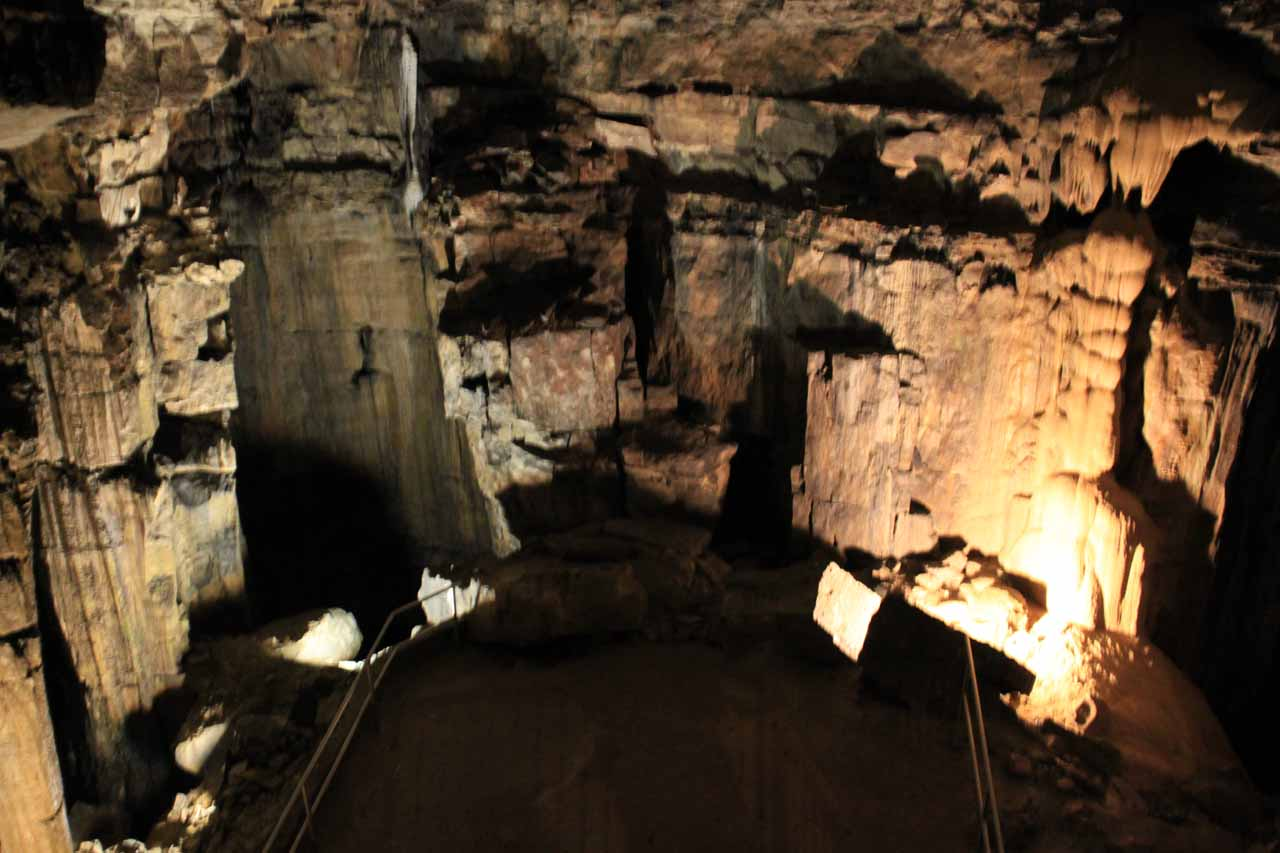 It's hard to communicate the size and depth of the Mammoth Cave system that we were able to tour, but this photo shows one of the larger rooms we visited just before going up a long series of steps