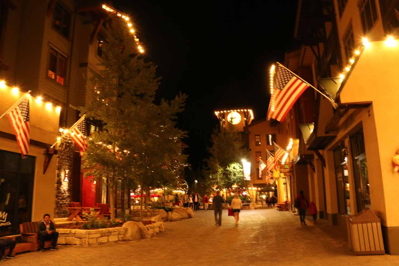Night time in the heart of Mammoth Village
