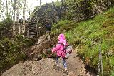 Manafossen_039_06202019 - Julie and Tahia carefully ascending the rocky trail leading up to Månafossen during our visit in June 2019