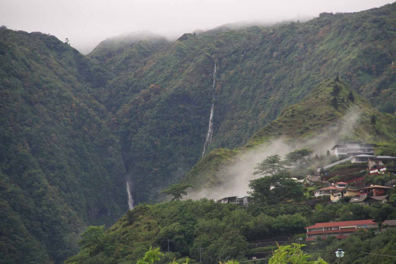 A pair of waterfalls seen out the back of our hotel room in Punaauia