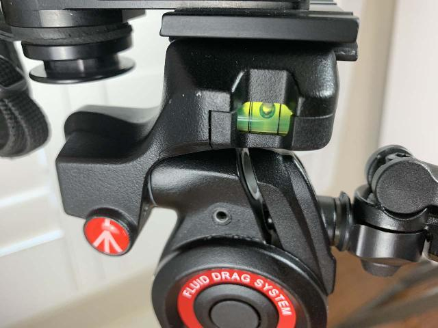 Closer look at the bubble level (one of three) on the Manfrotto BeFree 3-Way Live Advanced Tripod