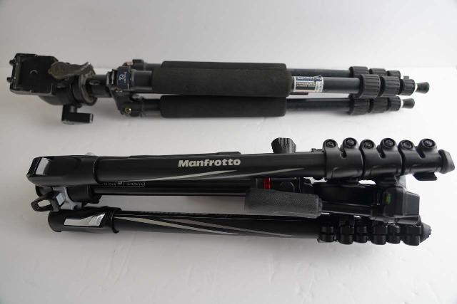 Comparing the collapsed lengths of the Manfrotto BeFree 3-Way Live Advanced Tripod (bottom) with my old Giottos GB 1140 Tripod (top)