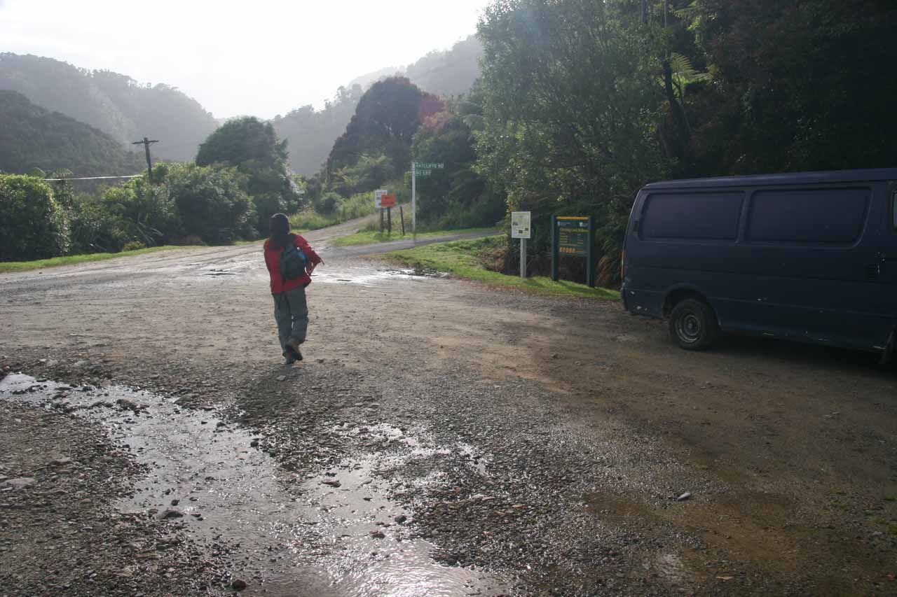 Julie and I were back at the trailhead the next morning where the rains stopped but the flood puddles were still there
