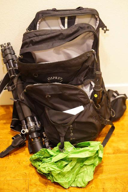 Context of the rest of the compartments within the Osprey Manta 34 Backpack