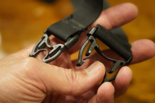 Closer look at the failure on the hip belt clip of my Osprey Ozone 46 Travel Backpack
