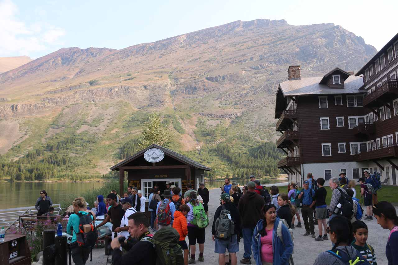 A huge crowd gathered at the boat dock trying to score last-minute standby tickets for a boat ride across Swiftcurrent Lake and Lake Josephine