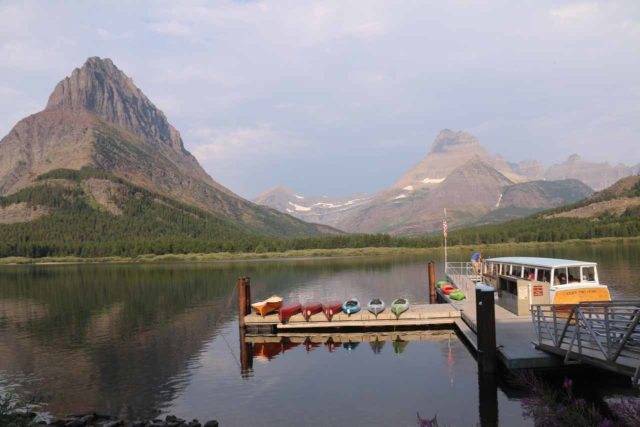 Many_Glacier_Hotel_062_08072017 - Looking towards the boat dock by Many Glacier Hotel on the shores of Swiftcurrent Lake