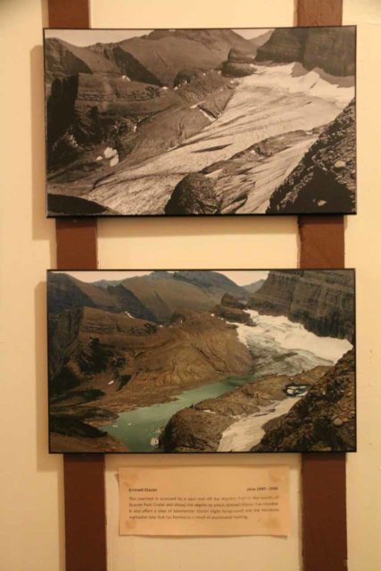Many_Glacier_Hotel_084_08072017 - The before and after photos of Grinnell Glacier from the Grinnell Glacier Overlook between 1940 to 2006
