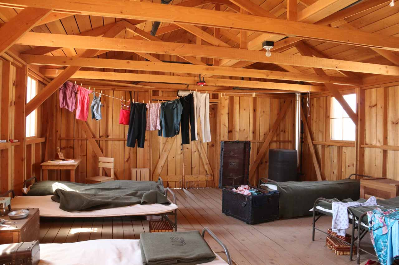 Basic accommodations inside a re-creation of a block in the early stages of Manzanar