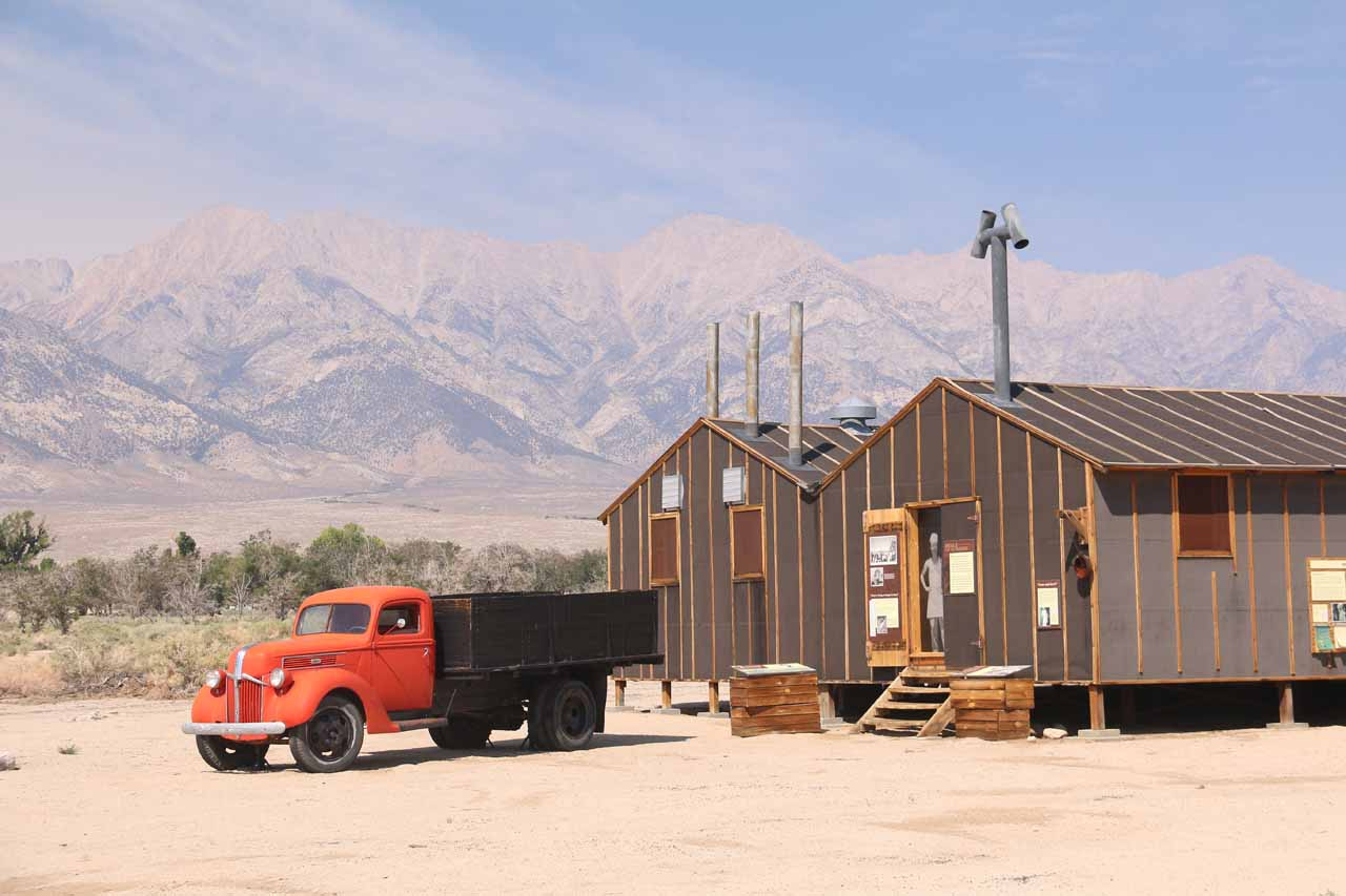 Approaching the red truck fronting the Mess Hall at Manzanar