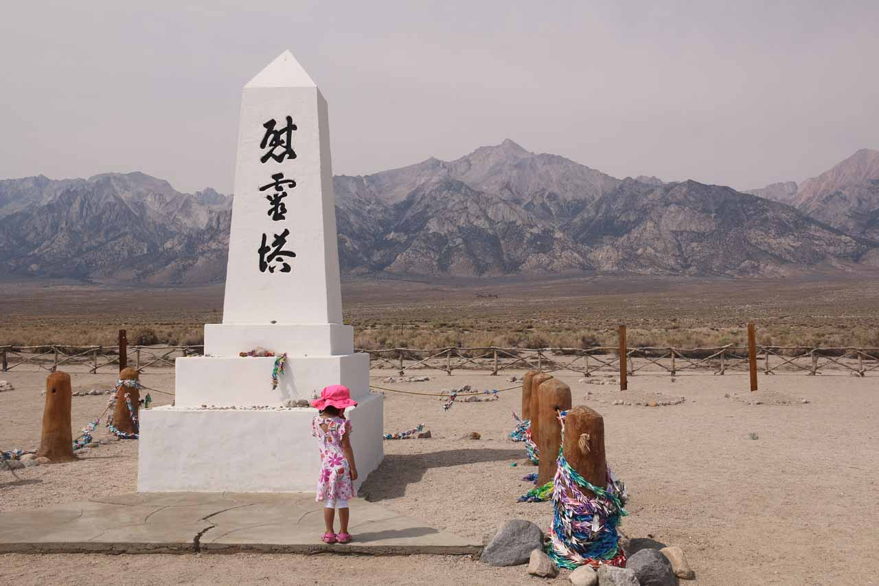 Tahia checking out the memorial at the cemetery at Manzanar