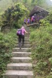 Maolin_Valey_Waterfall_018_10292016 - Mom hiking up some steps behind part of the purple-shirted camping group that we shared the Maolin Valley Waterfall Trail with