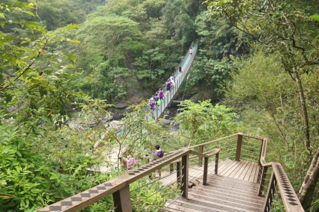 Maolin_Valey_Waterfall_040_10292016 - Descending to the second of the swinging bridges on the way to the Maolin Valley Waterfall