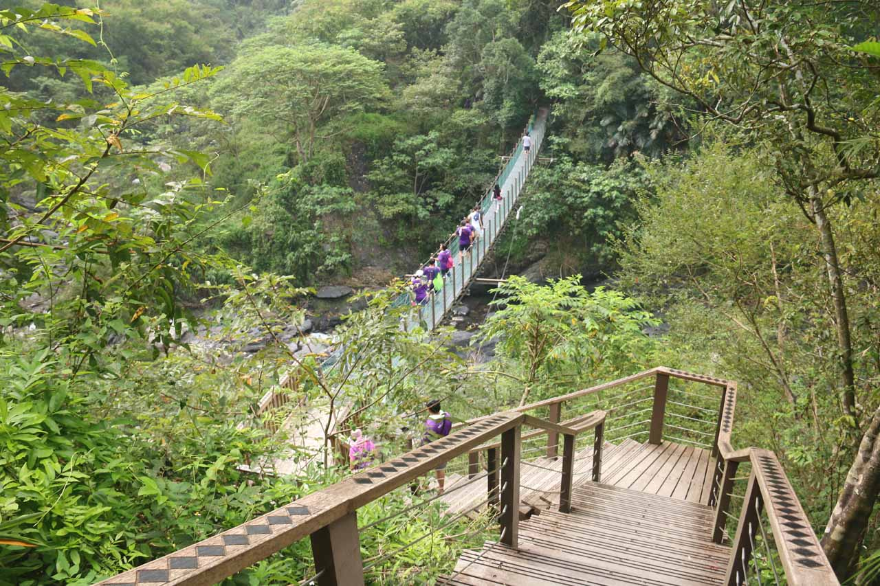 Descending towards the second suspension bridge on the Luomusi Trail