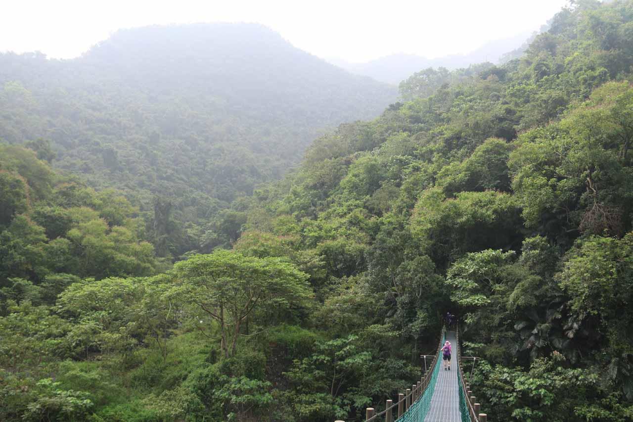Crossing the dramatic second suspension bridge