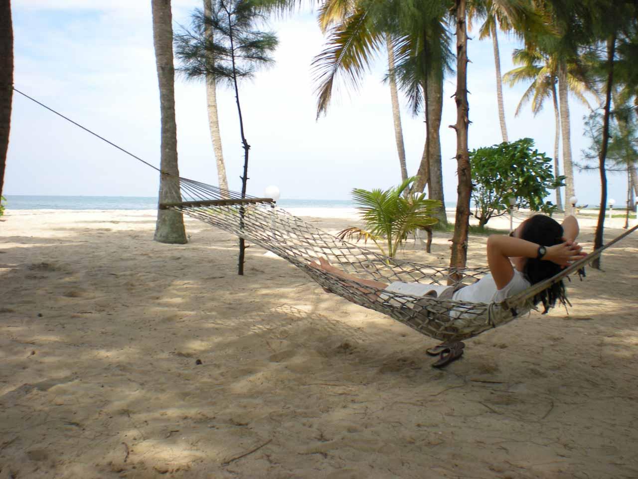 Julie resting on the hammock