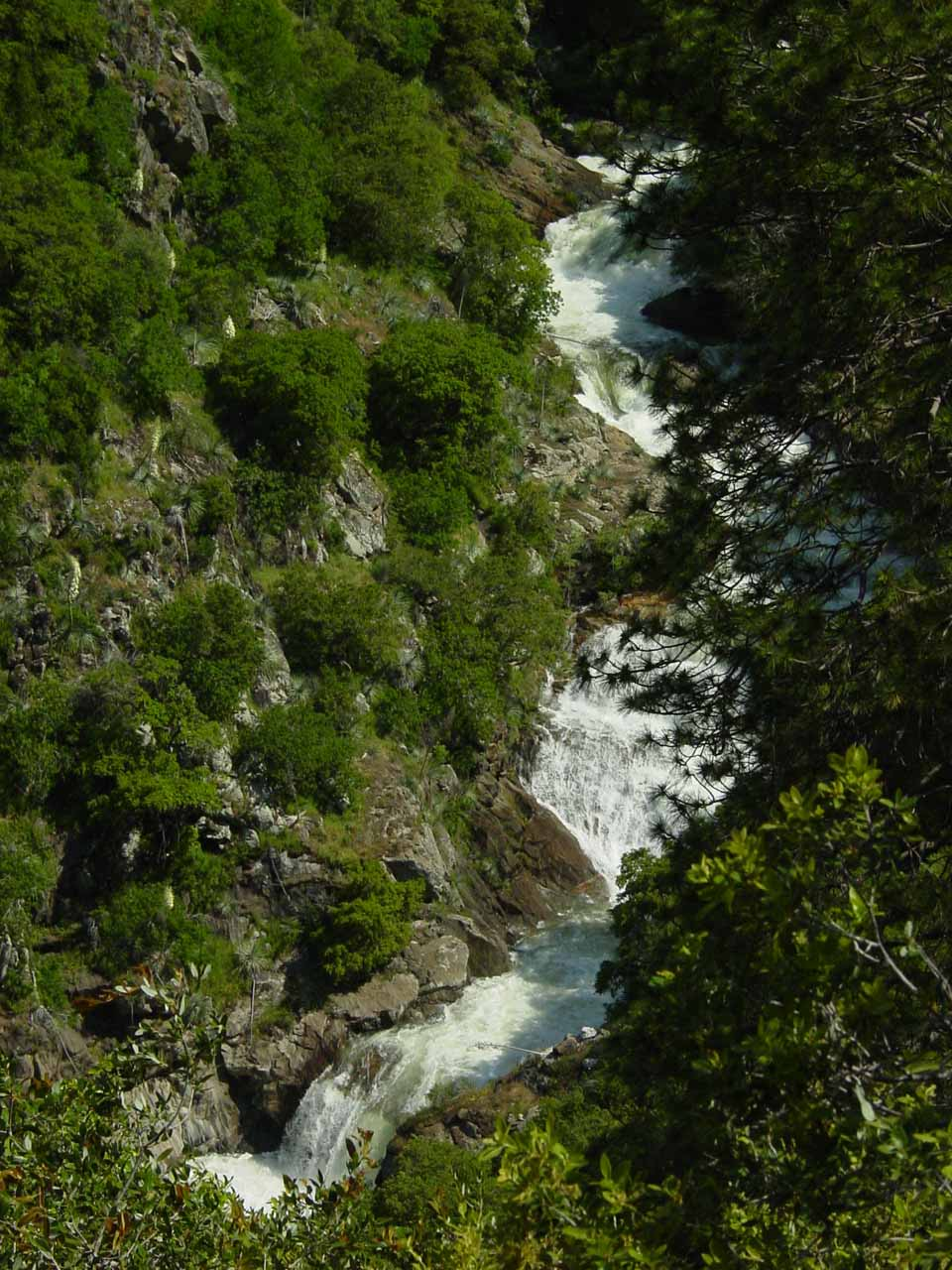 Looking down at another section of the cascades downstream from the main drop of Marble Falls