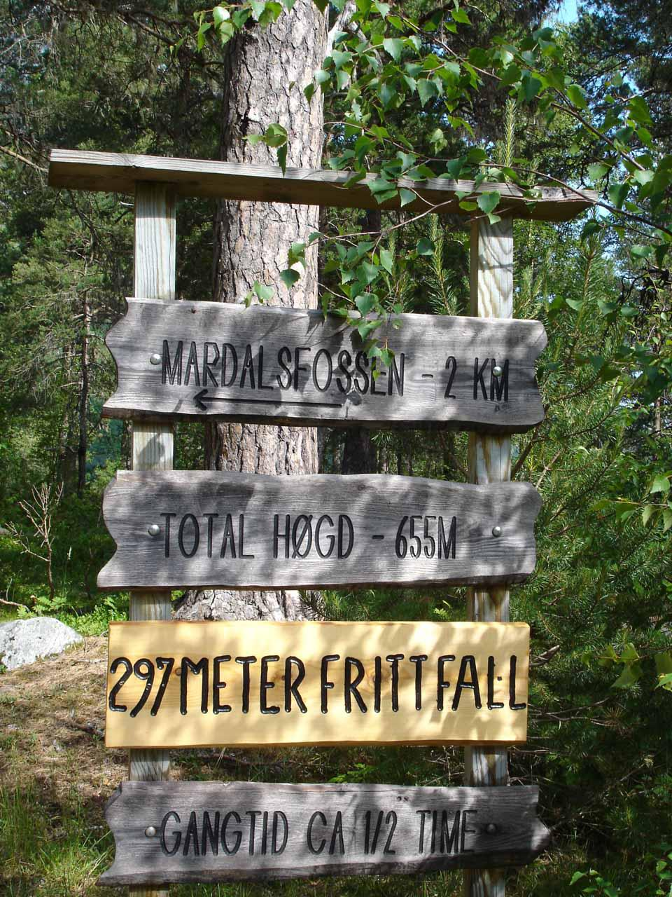 Some signage seen as the trail changed from gravel road to a narrow footpath through forest