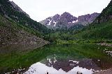 Maroon_Bells_027_07252020 - Classic panorama of the Maroon Bells reflected in Maroon Lake