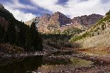 Maroon_Bells_057_10192020 - More contrasted look across Maroon Lake towards the Maroon Bells