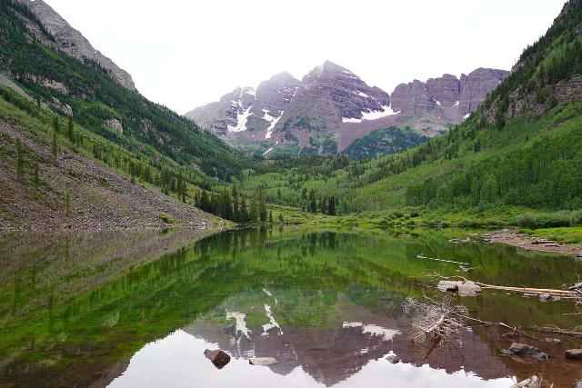Maroon_Bells_111_07252020 - Nearby the city of Aspen is the famous Maroon Bells with this signature panorama of the 14ers reflected in Maroon Lake