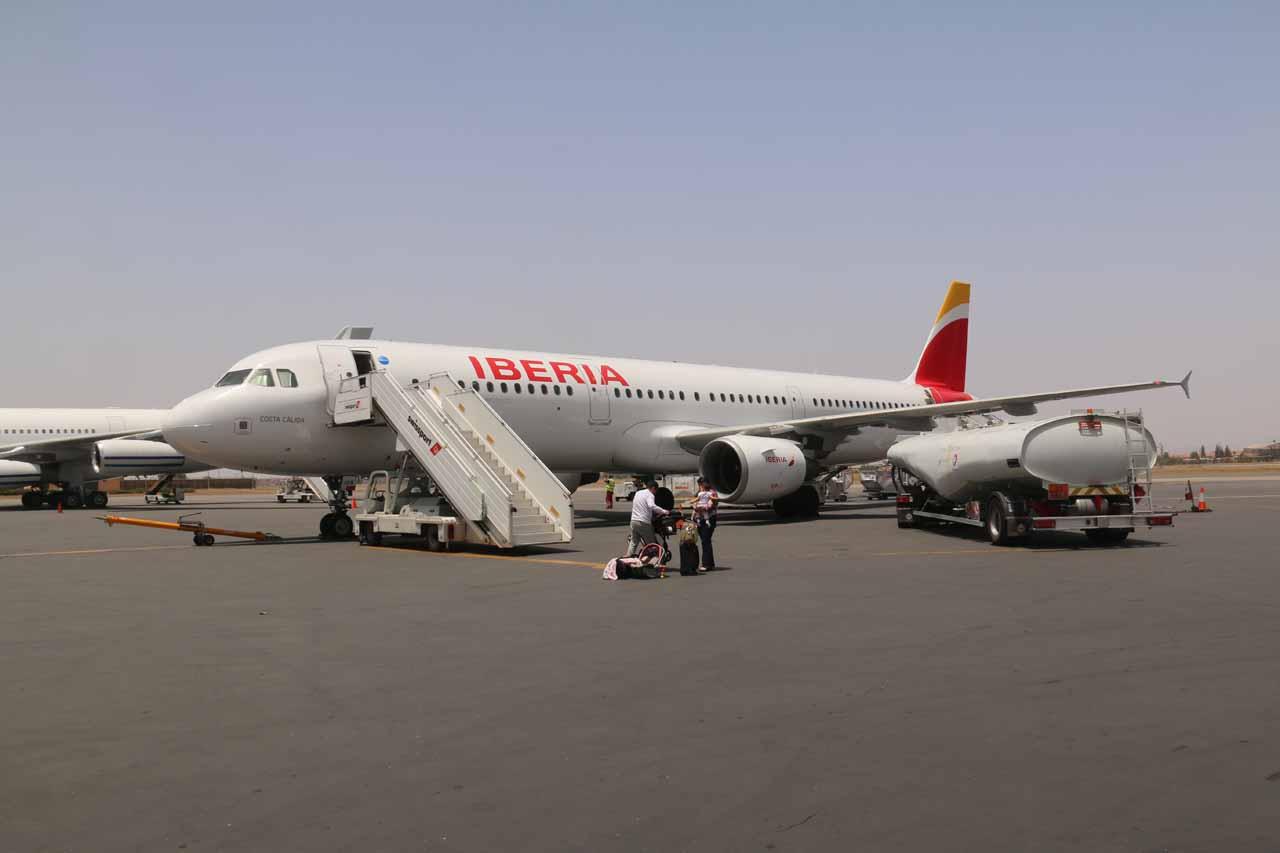 Disembarking the plane in Marrakech