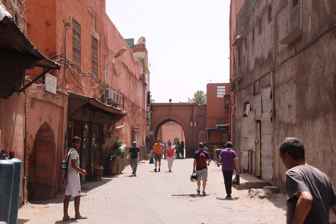 Looking back at the gate we had passed through on our way to the riad in Marrakech