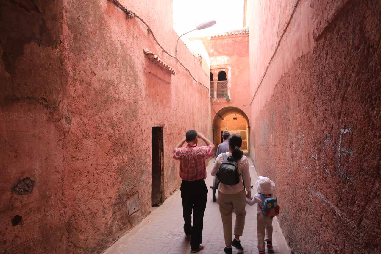 Now following quiet alleyways on our way to the Marrakech riad