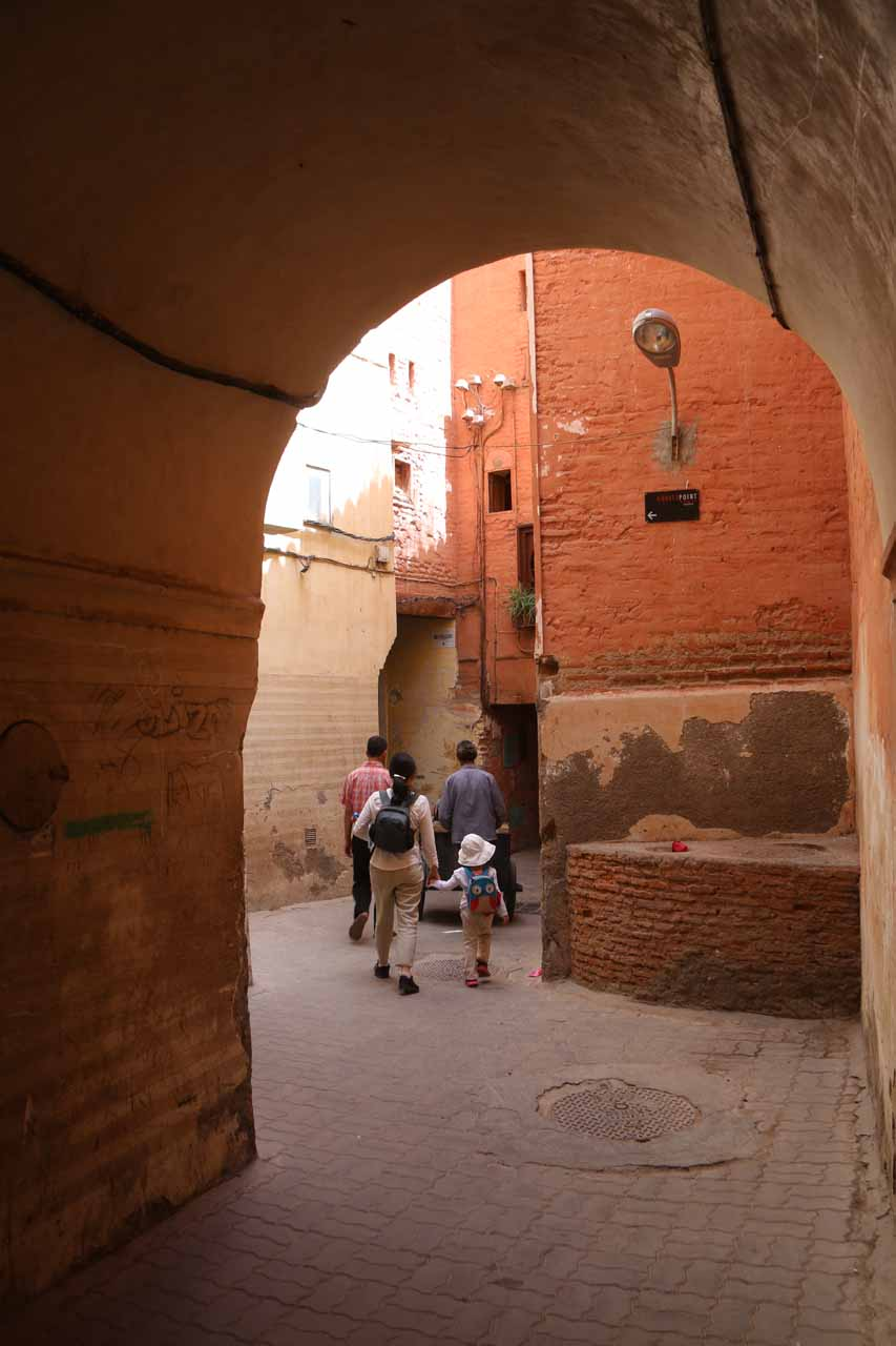 Walking the quiet alleyways to the riad
