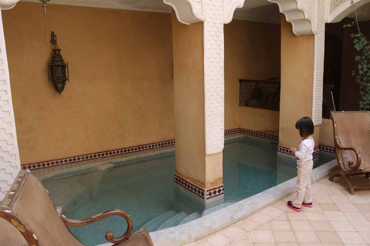 Tahia checking out the little pool at the courtyard of Riad Lorsya