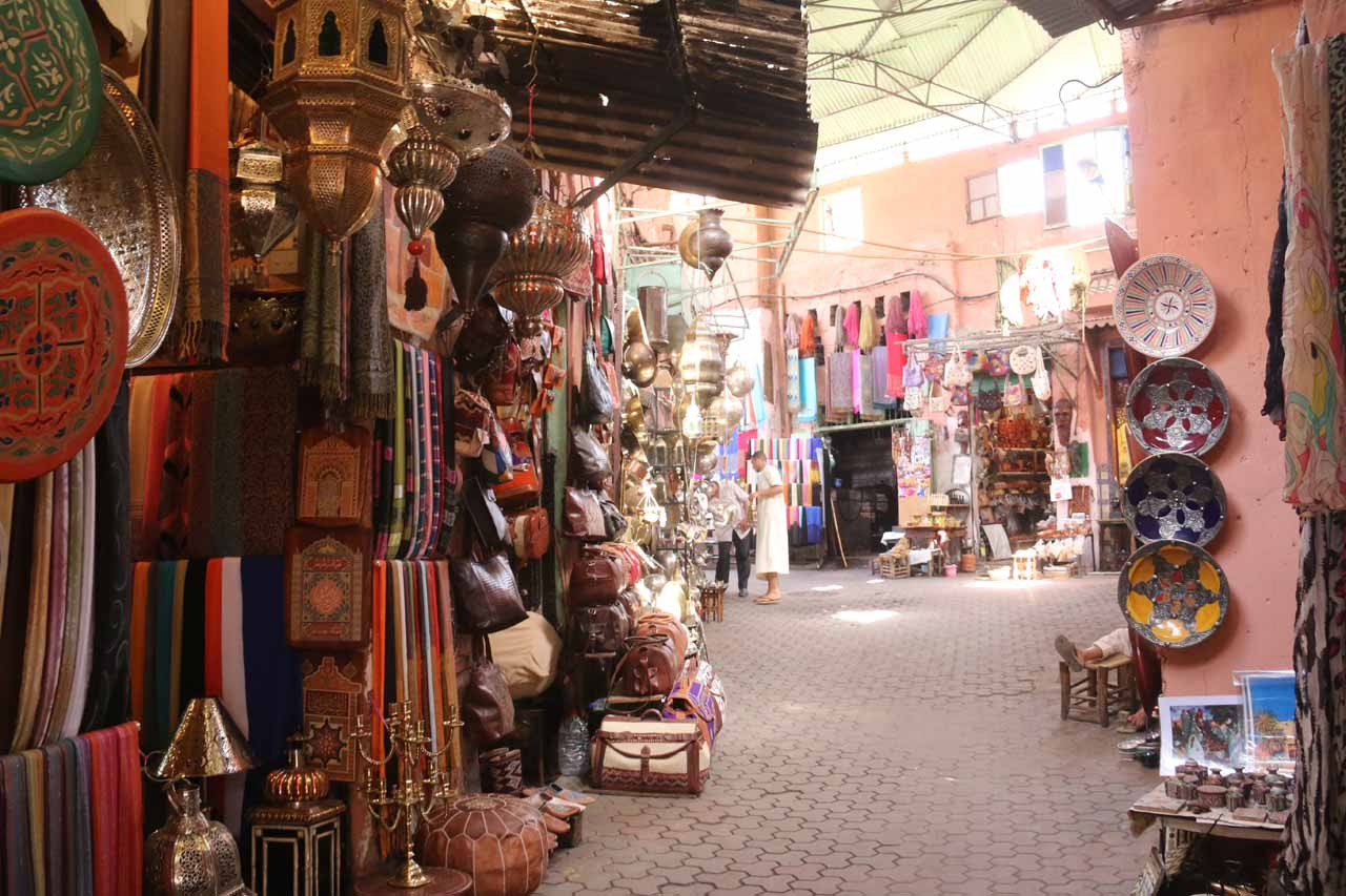 Walking by some souks on the way to Djemaa el-Fna