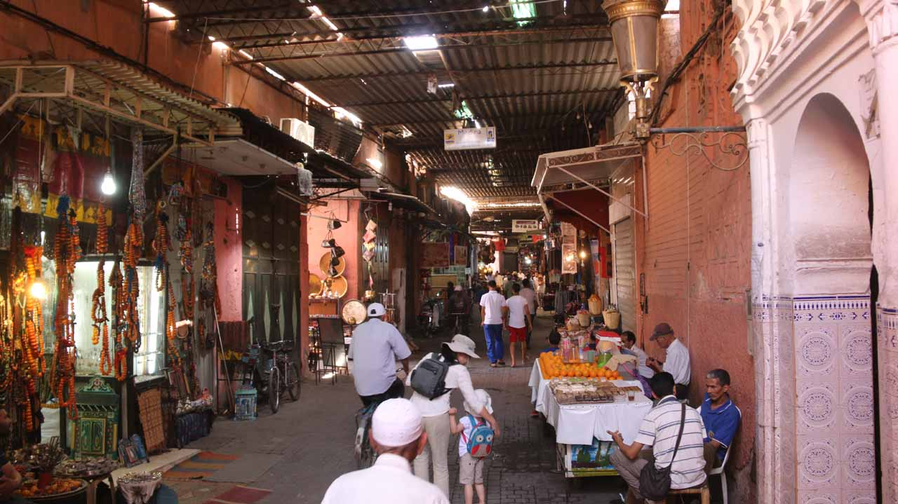 Another one of the atmospheric allures of visiting the medina of Marrakech was to get lost in the labyrinth of alleyways and markets (souks) such as this one
