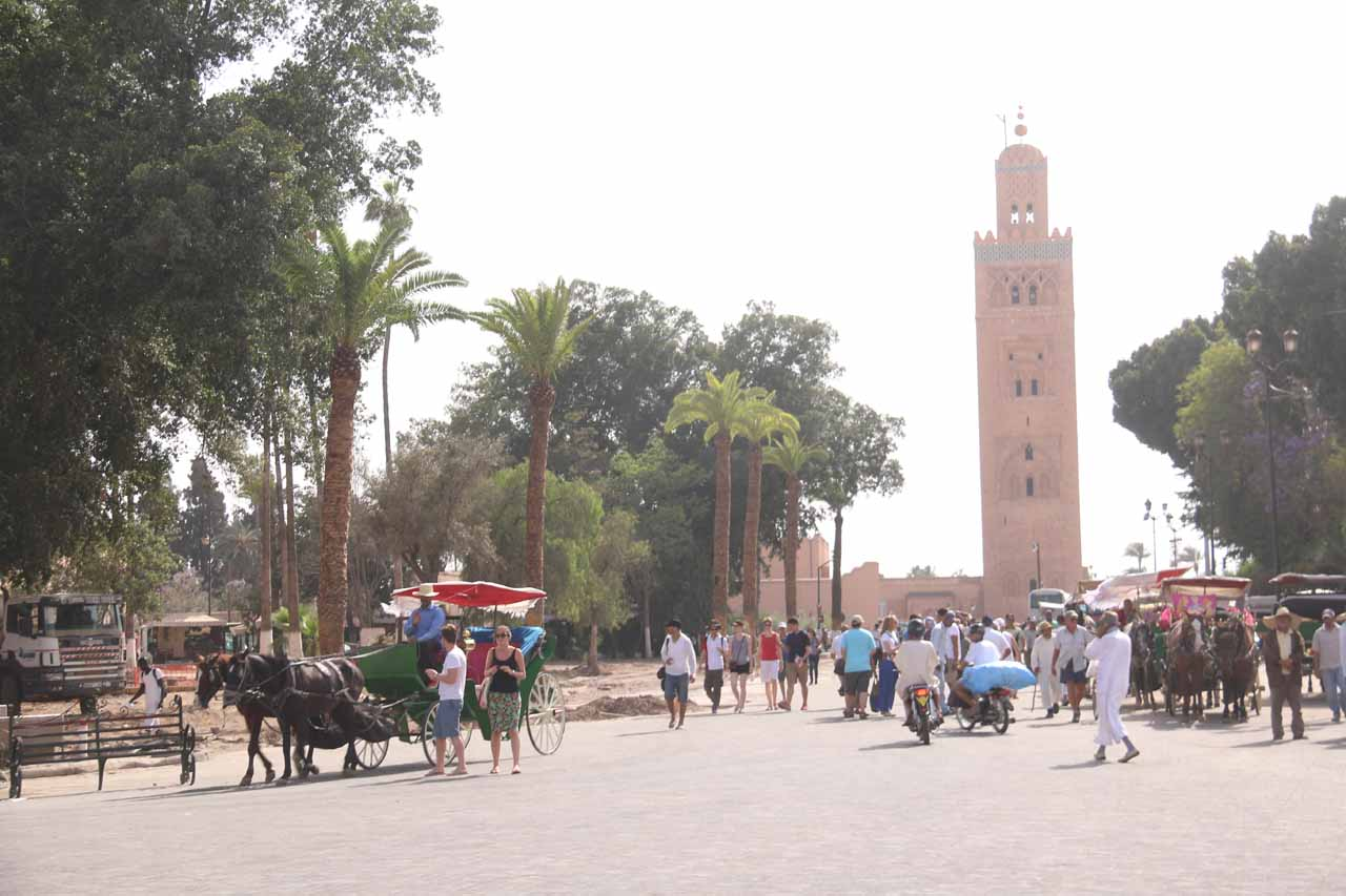 Approaching the Koutoubia Mosque
