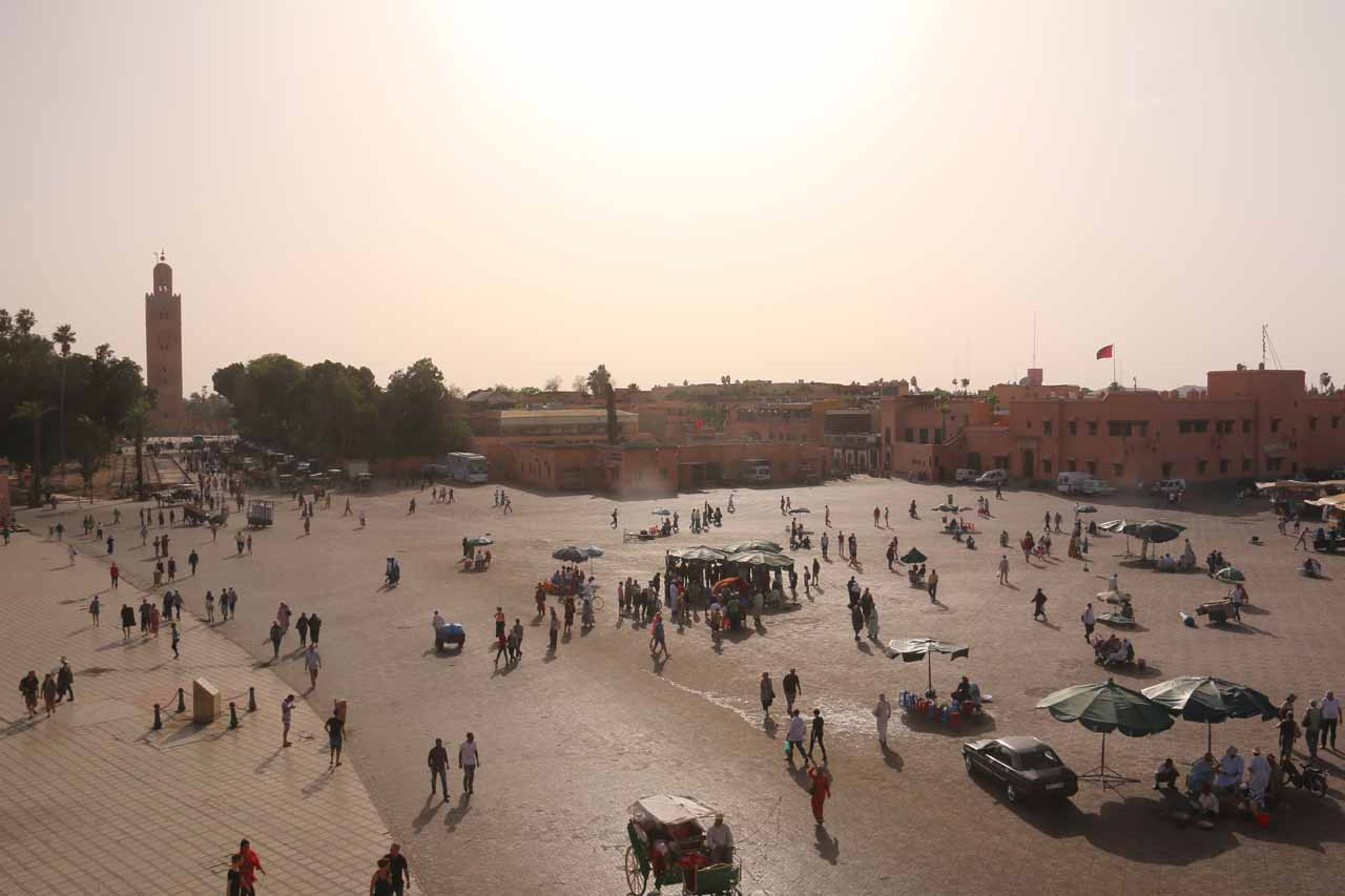 Broad view of the Djemaa el-Fna from the Glacier Cafe well before things would get real busy