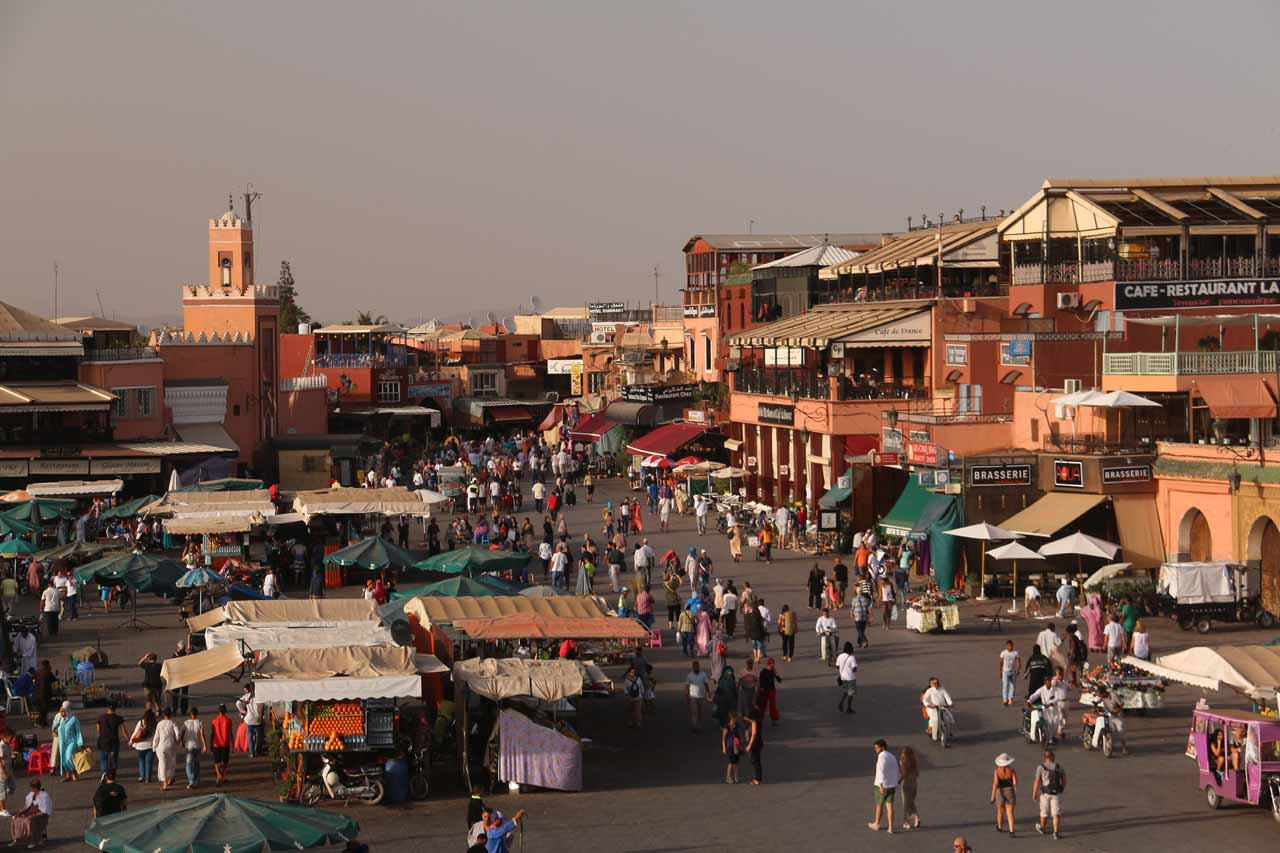 Checking out a busier part of the Djemaa el-Fna