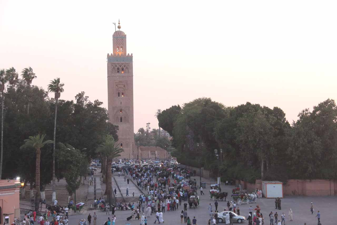 Looking towards the Koutoubia Mosque from our higher vantage point