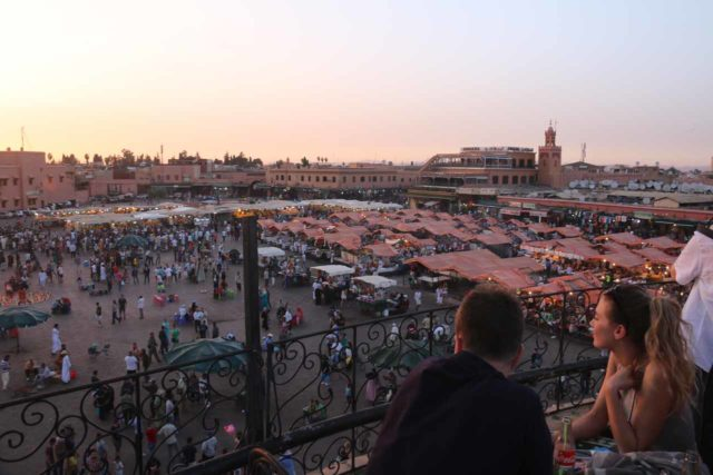 Marrakech_199_05152015 - The historical and atmospheric square of Djemaa el-Fna in the medina of Marrakech was THE place to be at sunset and later, and it's perhaps the prime reason why Marrakech is very popular with tourists
