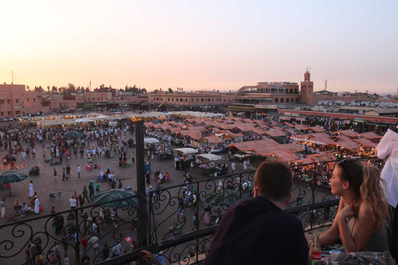 The historical and atmospheric square of Djemaa el-Fna in the medina of Marrakech was THE place to be at sunset and later, and it's perhaps the prime reason why Marrakech is very popular with tourists