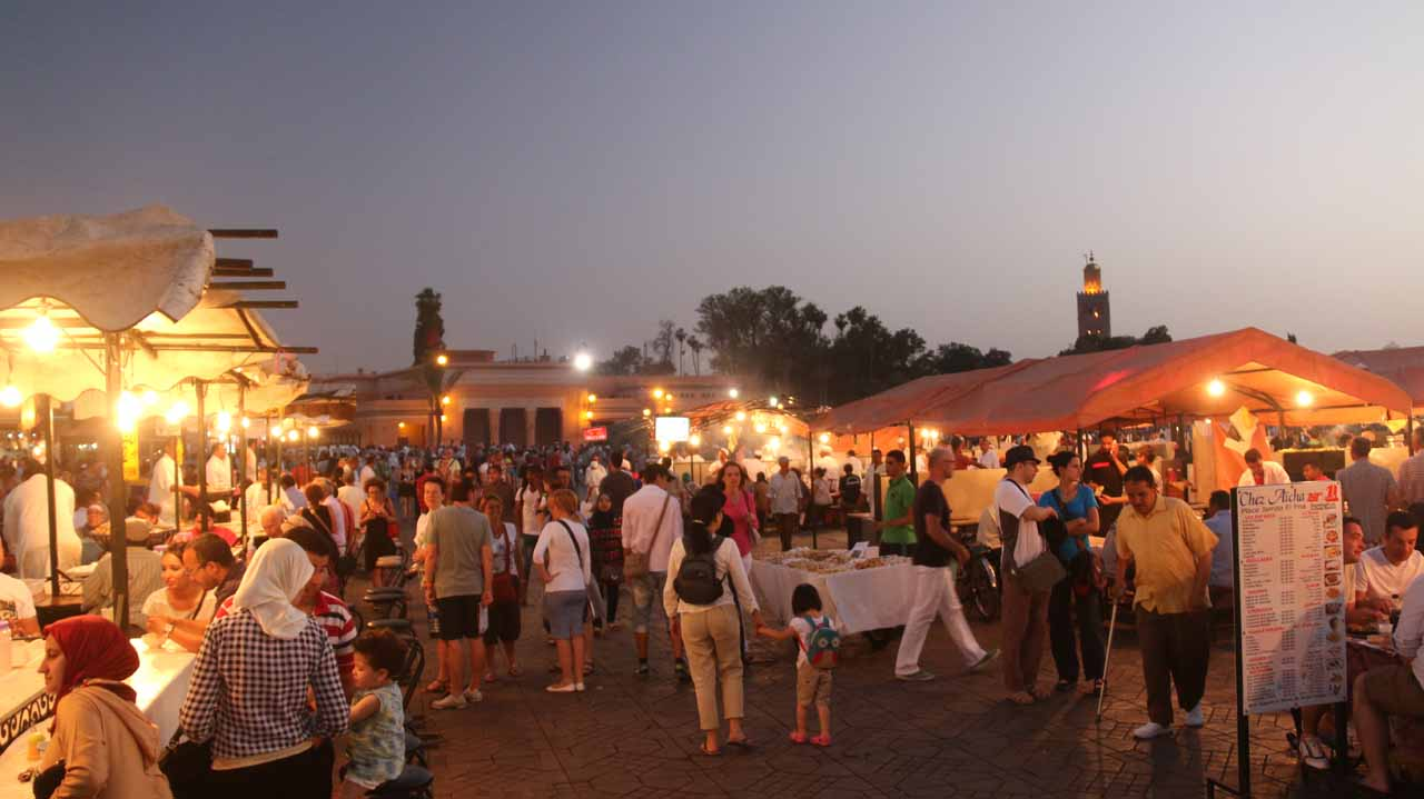 Now walking amongst the food stalls of the Djemaa el-Fna