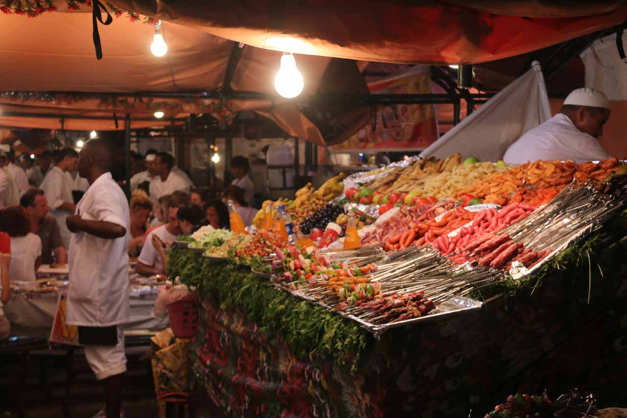 A closer look at one of the food stalls in the Djemaa el-Fna
