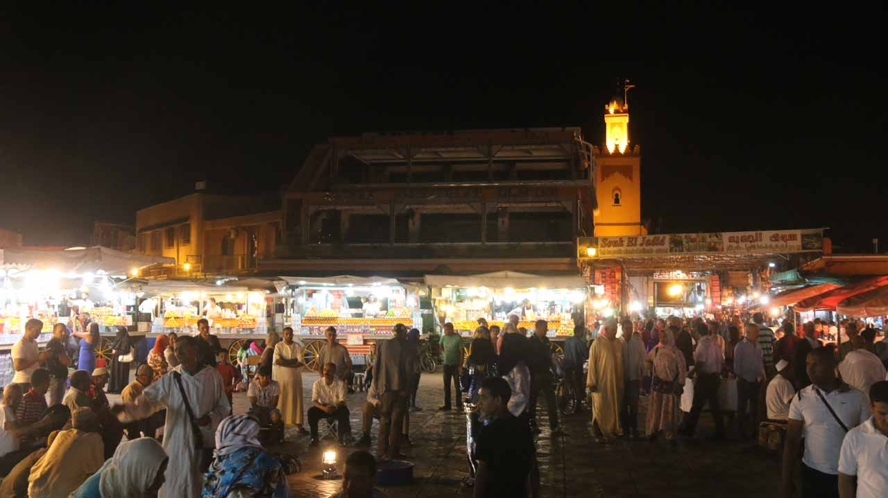 Looking back towards the food stalls from within the Djemaa el-Fna