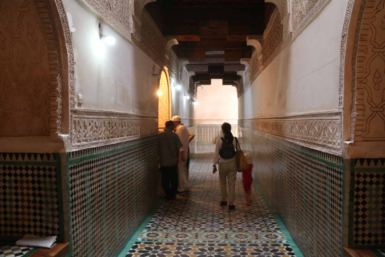 Entering the Ben Youssef Medersa