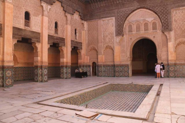 Marrakech_296_05162015 - The medina of Marrakech also afforded us the opportunity to visit elaborate courtyards such as this one at the Ben Youssef Medersa, which helped us appreciate Andalucian Spain later on in the trip