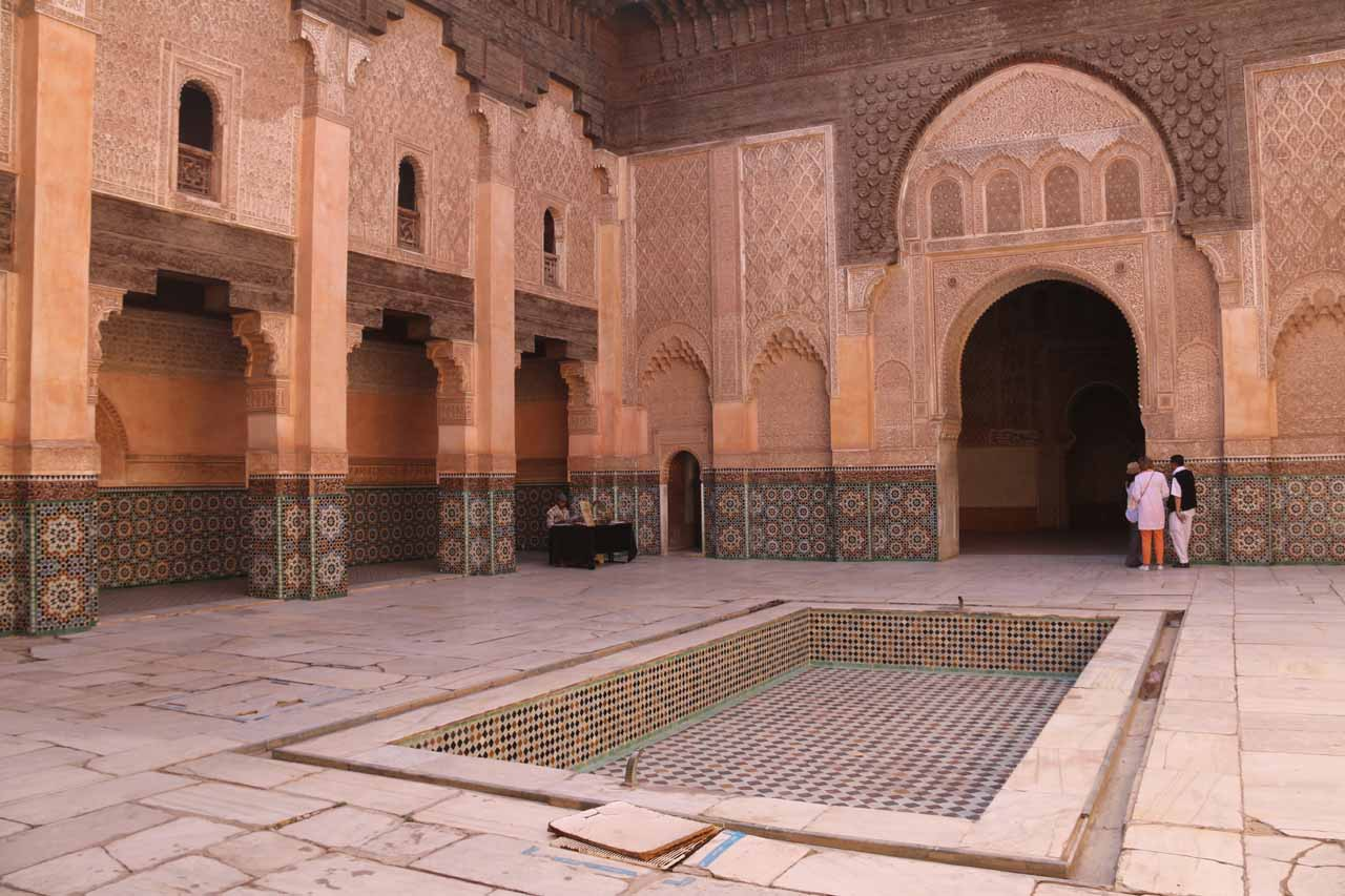A beautiful courtyard in the middle of the Ben Youssef Medersa