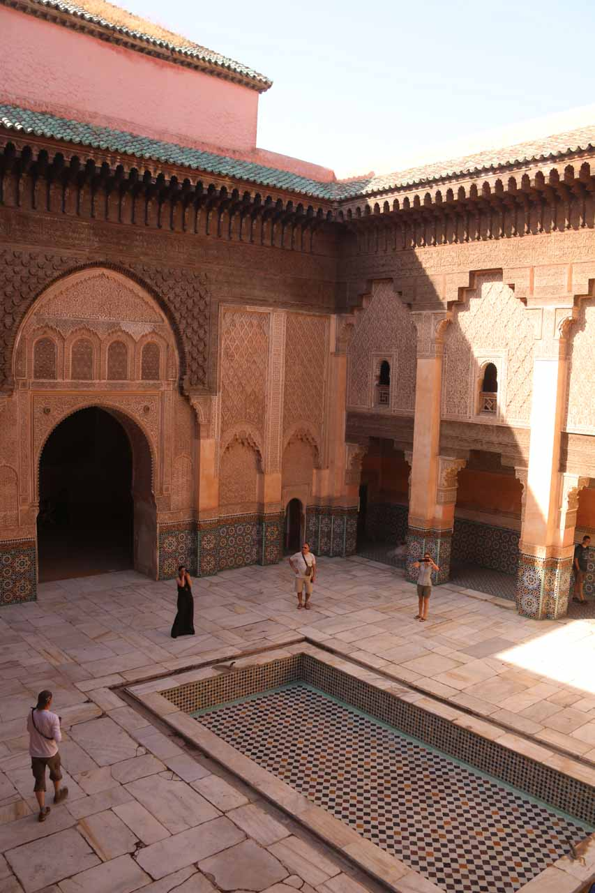 Looking down at the courtyard of Ben Youssef